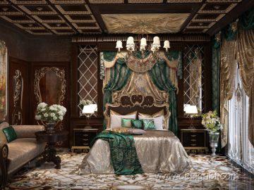 Роскошная спальня в темных тонах