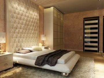 Кровать с мягкой спинкой в интерьере спальни