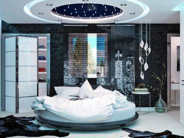 Интерьера спальни в стиле хай-тек
