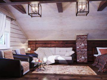 Большая спальня в деревянном доме