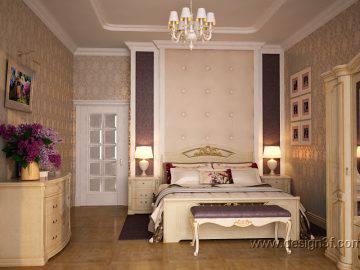 Интерьер классической спальни с белой мебелью