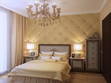 Спальня с гардеробной в светлых тонах