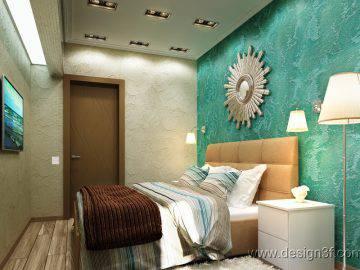 Интерьер спальни в бирюзовых тонах