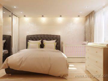 Современная спальня, в теплых тонах