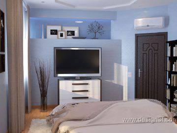 Современная спальня в голубом цвете