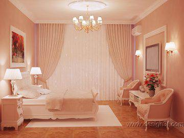 Персиковый цвет в интерьере спальни