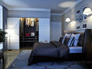 Интерьер спальни с панорамными окнами