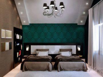 Зеленый цвет в интерьере спальни для гостей