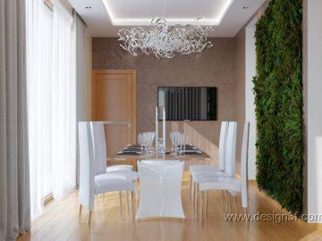 Зеленая стена в интерьере современной столовой