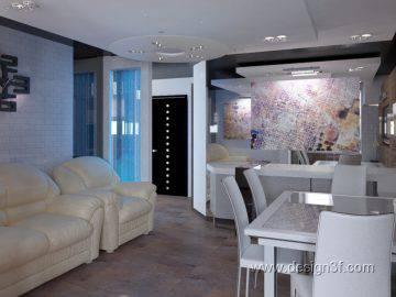 Современный интерьер трехкомнатной квартиры