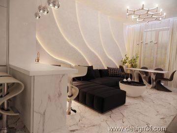 Современная гостиная в светлых тонах
