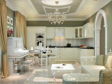 Кухня-студия в светлых тонах