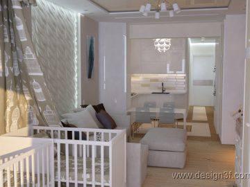 Дизайн интерьера однокомнатной квартиры 45 м2
