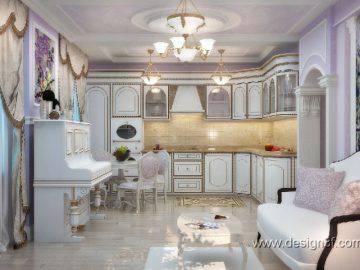 Кухня совмещенная с гостиной в классическом стиле