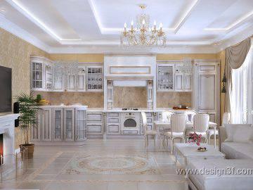 Интерьер студии с белой кухней