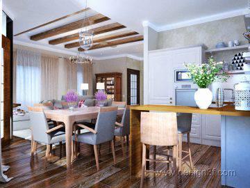 Дизайн кухни, совмещенной с гостиной и столовой