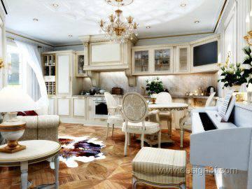 Гостиная совмещенная с кухней в классическом стиле