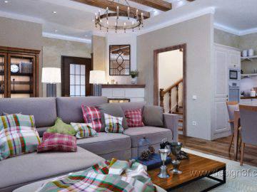 Дизайн классической кухни-гостиной в доме