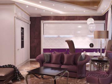 Дизайн гостиной с кухней в стиле арт-деко