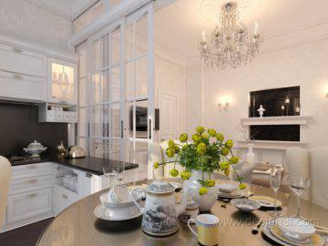 Белая кухня в студии
