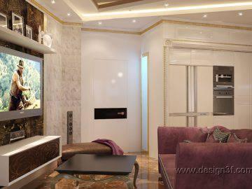 Дизайн проект гостиной в стиле арт-деко