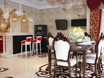 Гостиная с кухней в восточном стиле