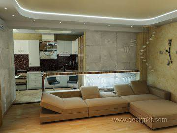 Проект гостиной с кухней в современном стиле