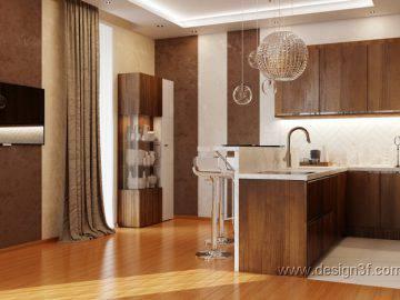 Кухня в современном стиле в частном доме