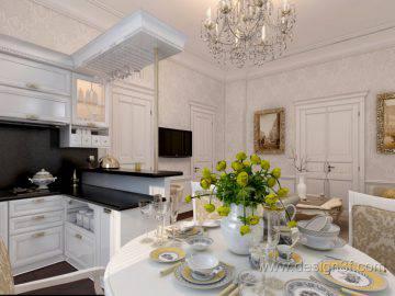 Дизайн гостиной с кухней, фото 2015 года
