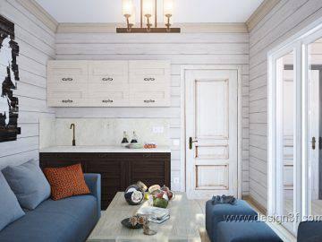 Дизайн кухни-гостиной в деревянном доме