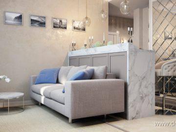 Дизайн интерьера студии с барной стойкой