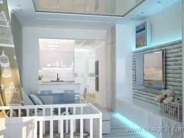 Дизайн интерьера узкой квартиры-студии