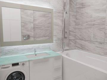 Плитка под мрамор в ванной комнате