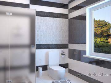 Черный и белый цвет в интерьер ванной