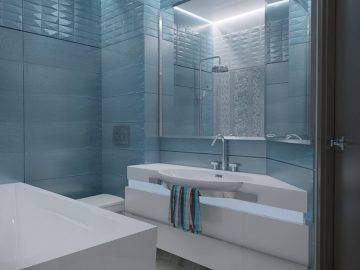 Ванная комната, синий цвет, современная