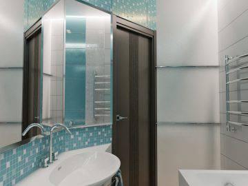 Современная ванная комната в синем цвете