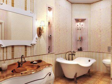 Ванная комната в квартире в стиле арт-деко