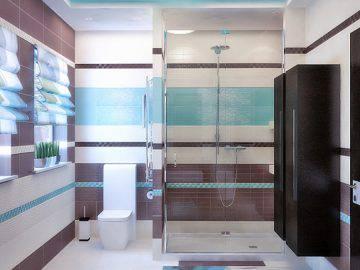 Голубой и коричневый цвет в интерьере ванной комнаты