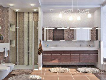 Шоколадный цвет в интерьере ванной комнаты