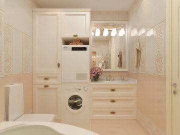 Современная ванная комната в пастельных тонах