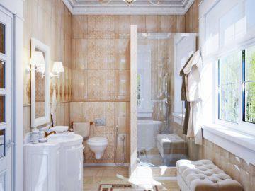 Интерьер ванной комнаты классика