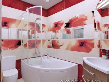 Красный цвет в ванной комнате