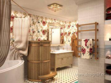 Ванная комната с цветочным дизайном