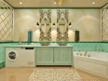 Восточный интерьер ванной комнаты в зеленых тонах