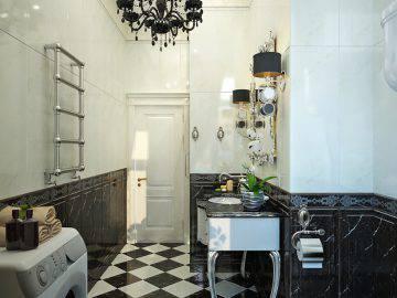 Роскошная ванная комната в черно-белом цвете