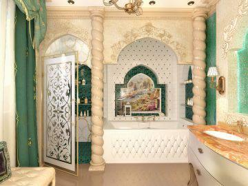Восточная роскошь в интерьере ванной комнаты