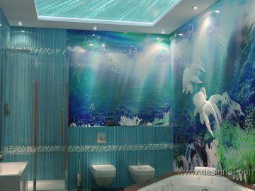 Морская тема в детской ванной комнате