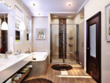 Дизайн ванной комнаты в теплых тонах