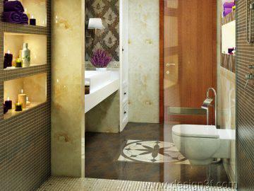 Дизайн ванной комнаты в бежево-коричневых тонах