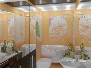 Дизайн ванной комнаты в желтом цвете